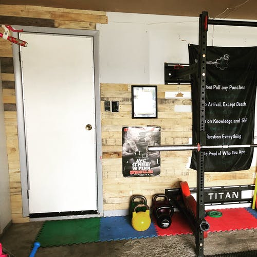 Free stock photo of garage, Garage Gym, pallet wall