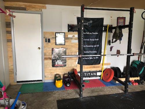 Free stock photo of garage, Garage Gym, garage pallet wall