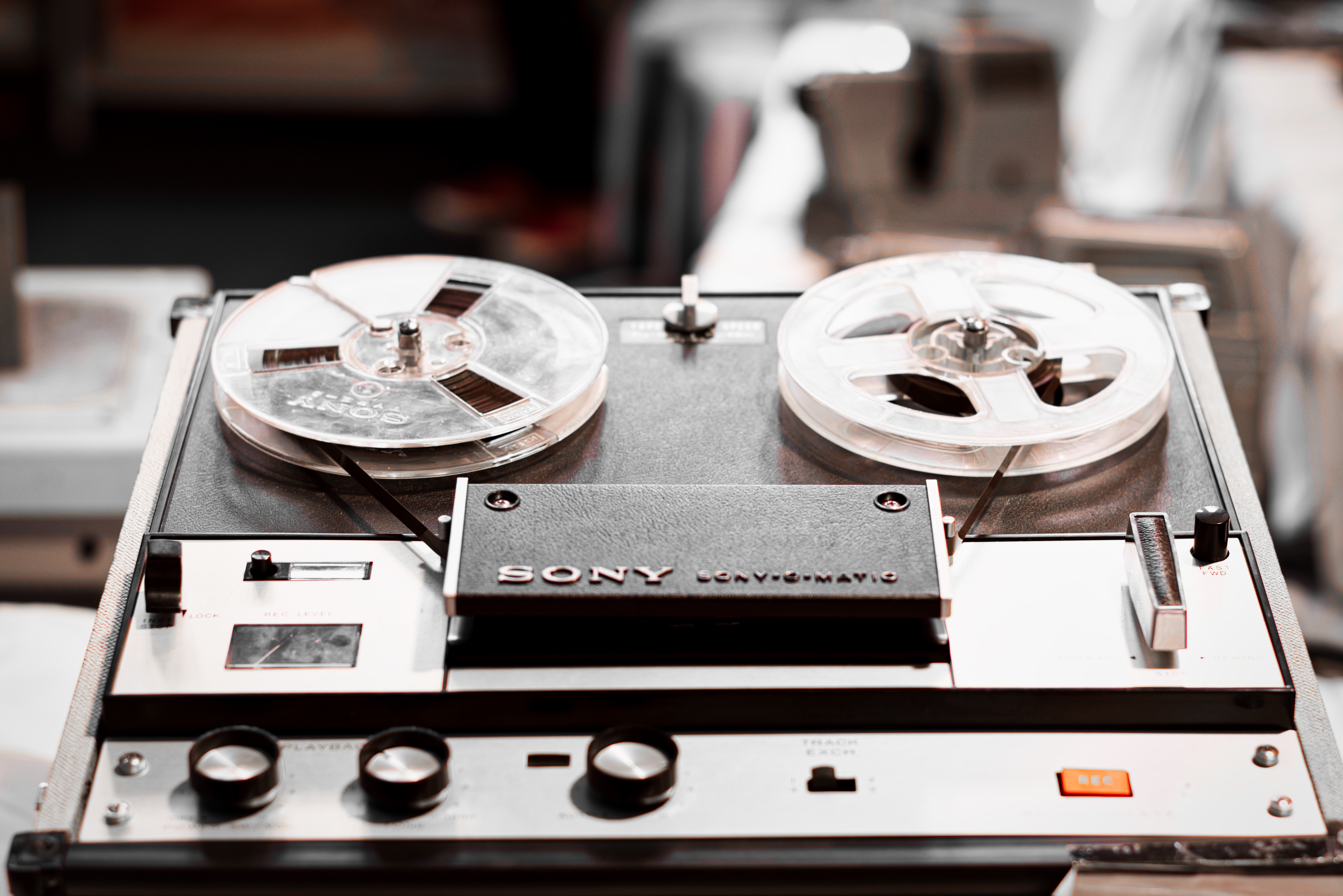 Black and Grey Sony Reel Tape Player