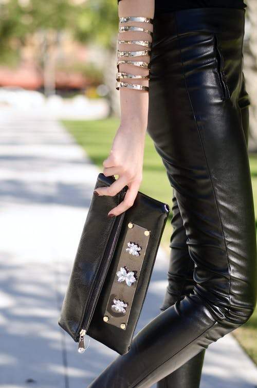Woman Wearing Black Leather Leggings