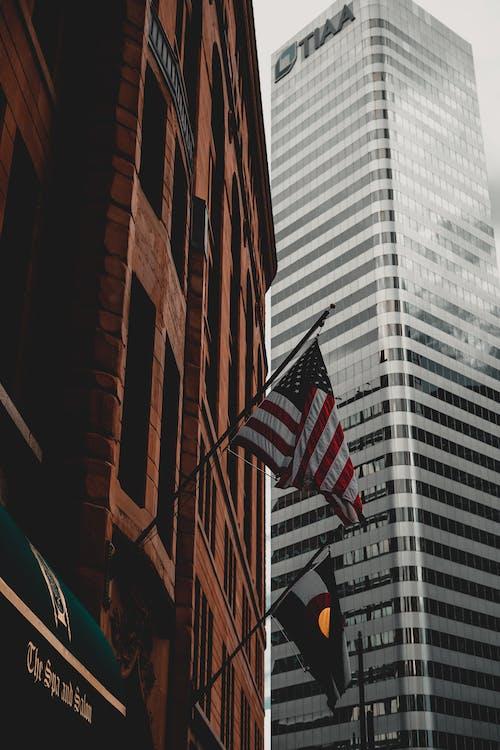 Foto profissional grátis de América, arquitetura, bandeira, bandeira dos Estados Unidos