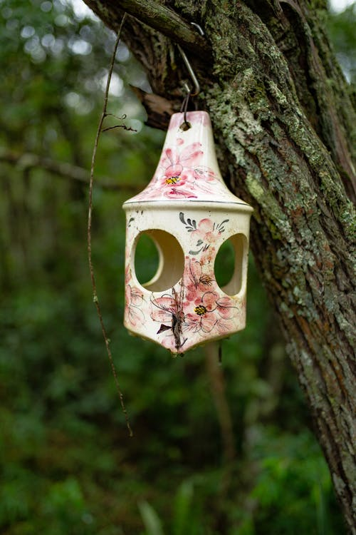 Hanged White and Pink Floral Lantern