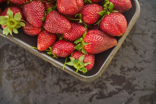 Red Strawberry Fruits on Gray Basket