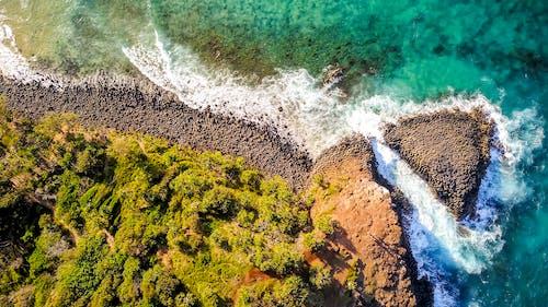 Foto profissional grátis de aéreo, aerofotografia, água, areia