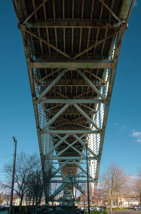 blue sky, bridge, facing