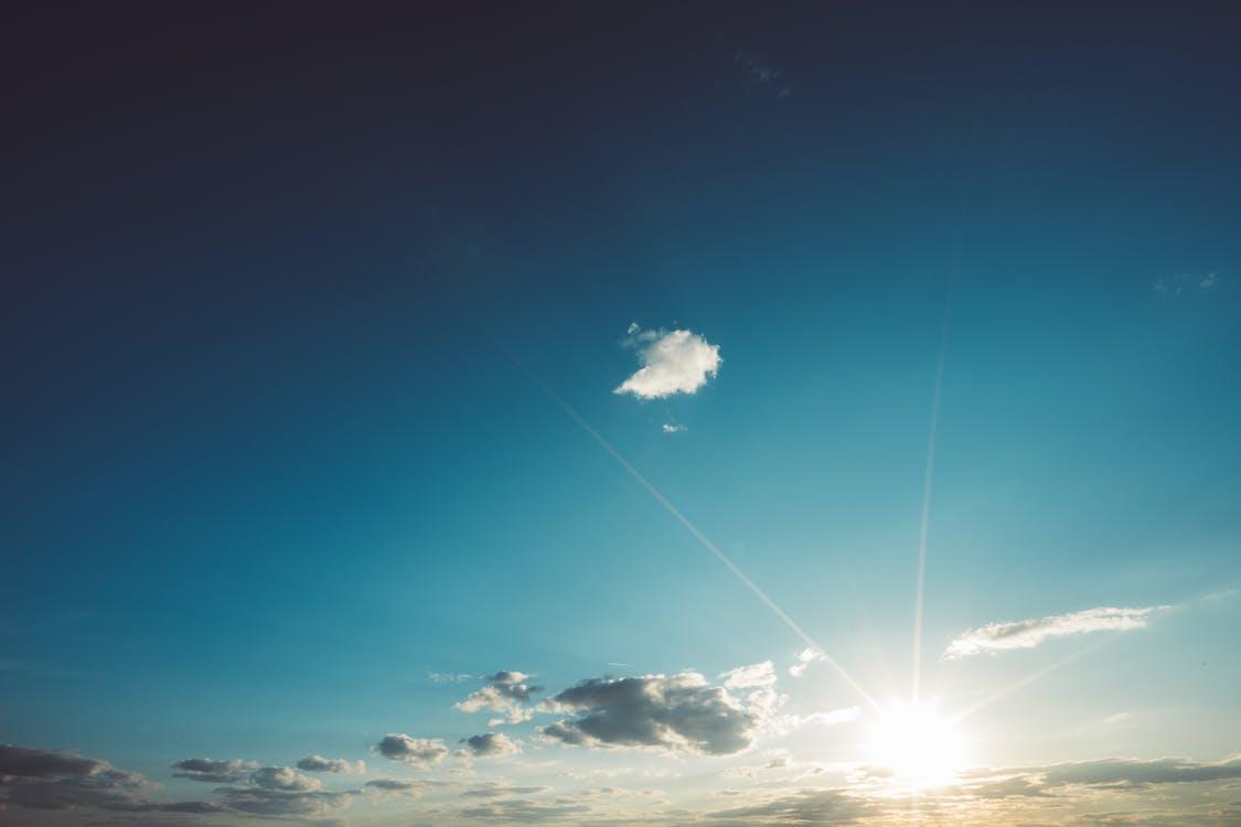 日没, 晴天, 眩しい太陽