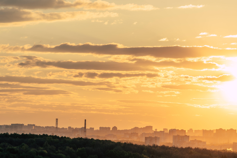 オレンジ, シティ, スカイライン, 日没の無料の写真素材