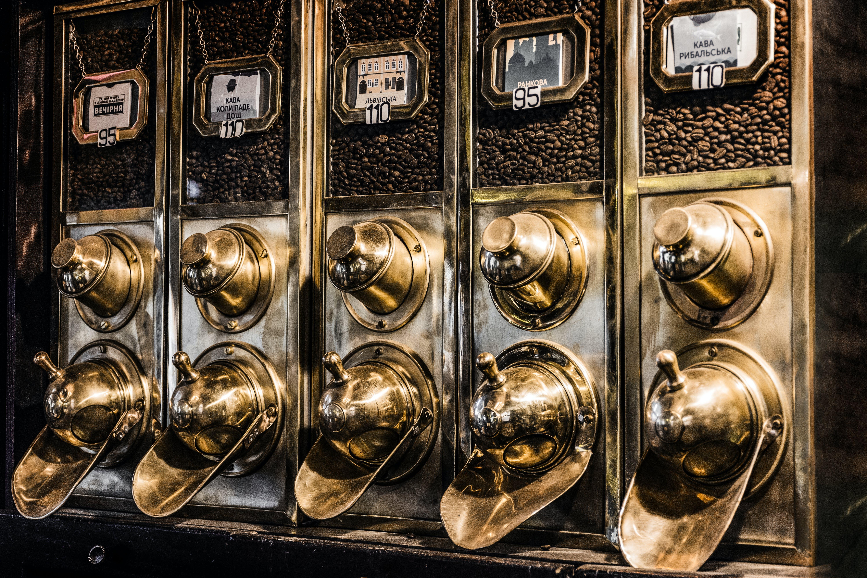 altın, kahve, kahve makinesi içeren Ücretsiz stok fotoğraf