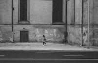 black-and-white, city, person