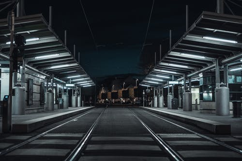 Free stock photo of architecture, bus stop, geometry, midnight