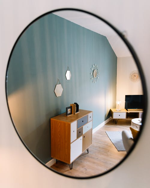 Round Frameless Mirror on Wall