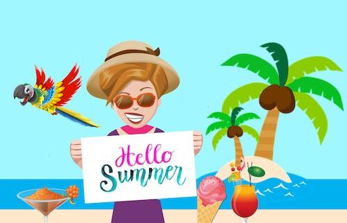 Free stock photo of beach, fun, hat, holiday