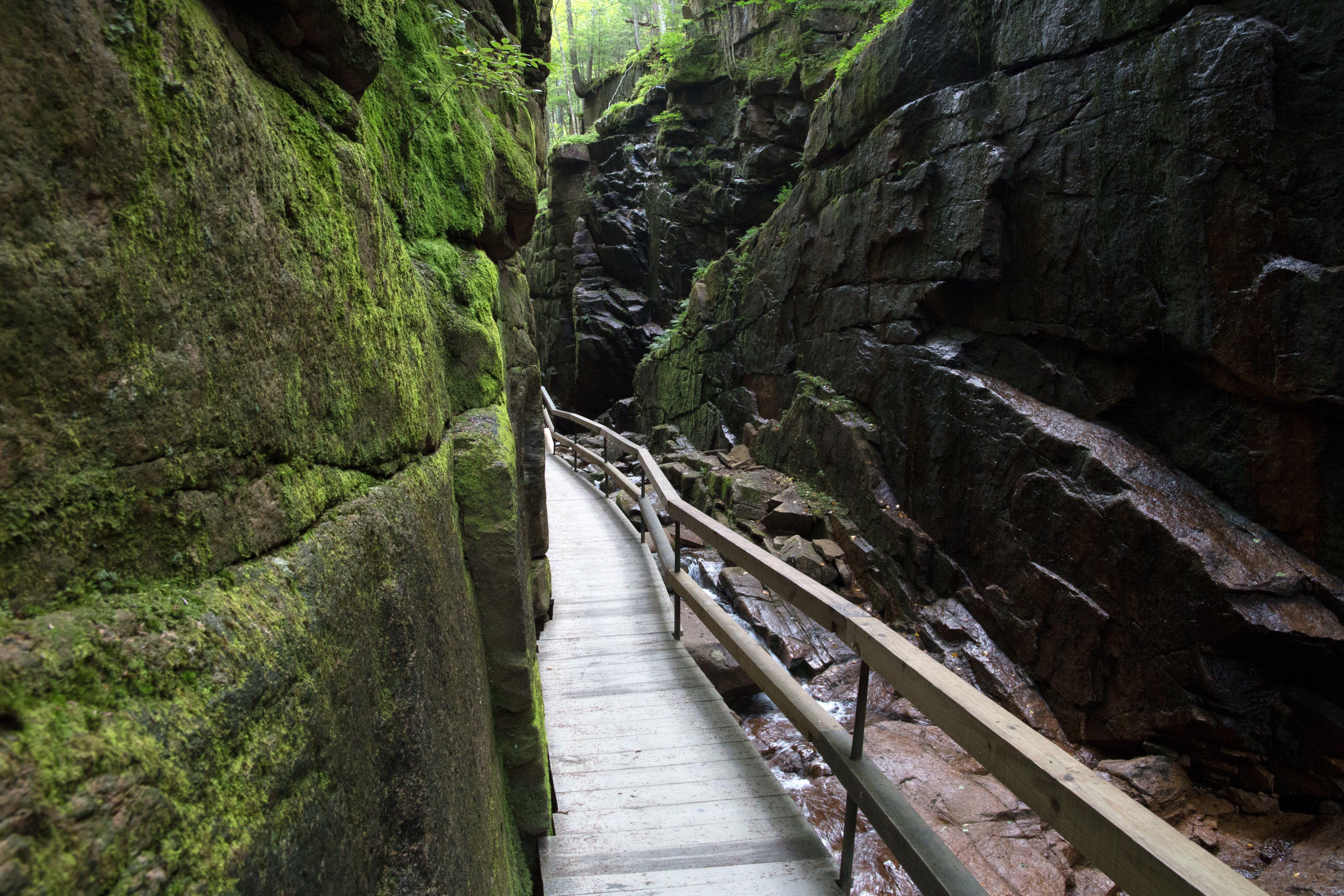 Gray Wooden Bridge Between Two Mossy Rock Formation