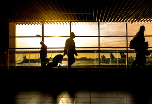 Silhouette of Person in Airport