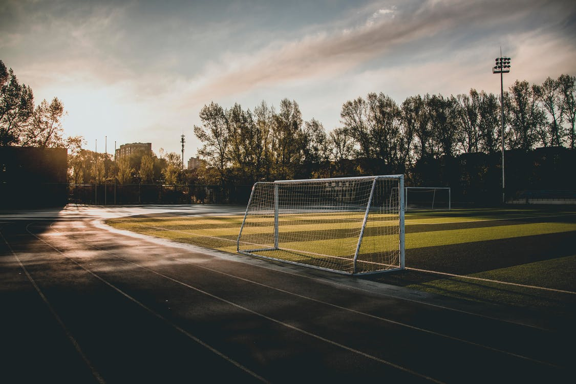 asfalt, boisko piłkarskie, bramka