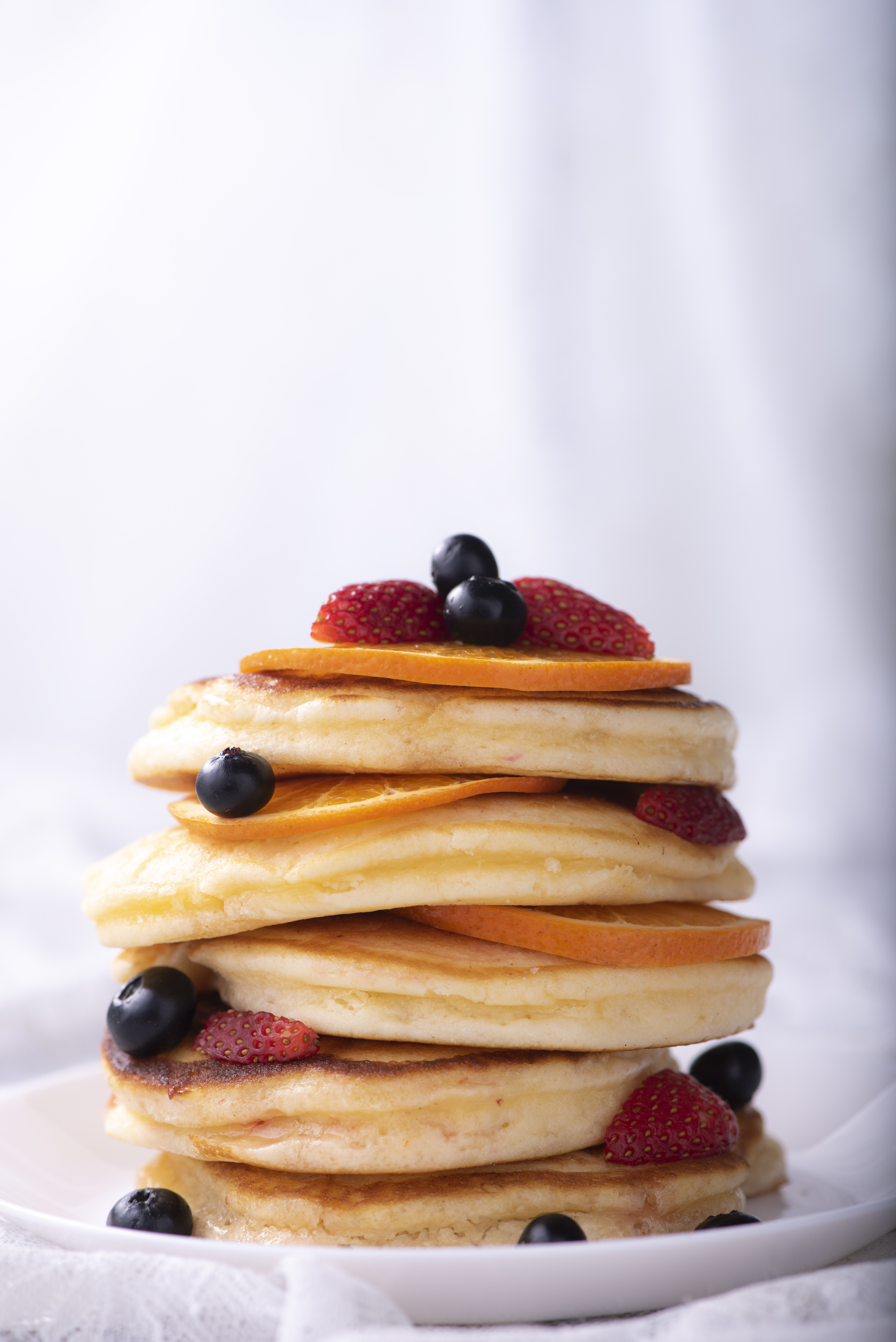 Stack Of Pancakes With Strawberry Fruits