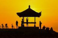 sunset, people, silhouette