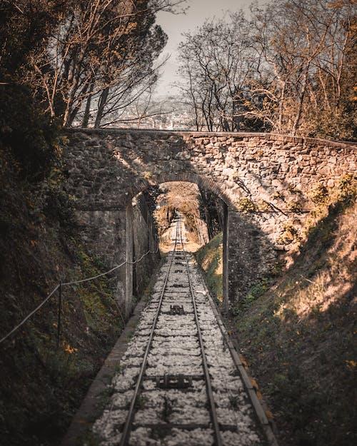 Kostenloses Stock Foto zu backsteinbrücke, brücke, schienen, seilbahn