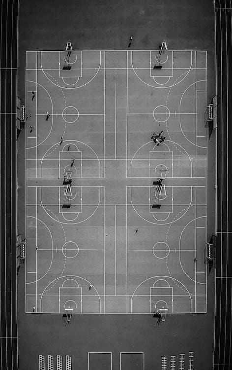 aufsicht, basketball platz, draufsicht