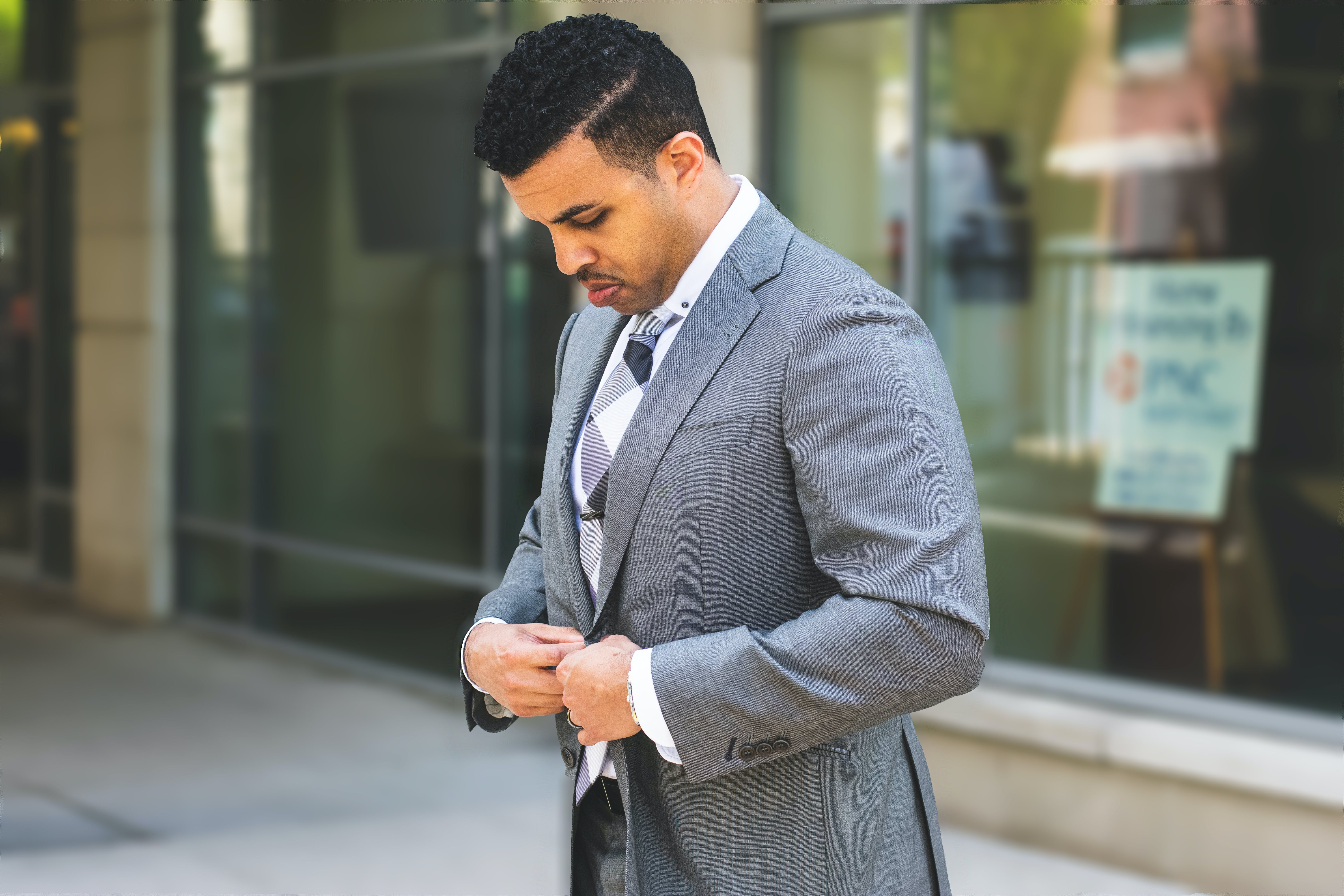 Man in Gray Notched Lapel Suit Jacket