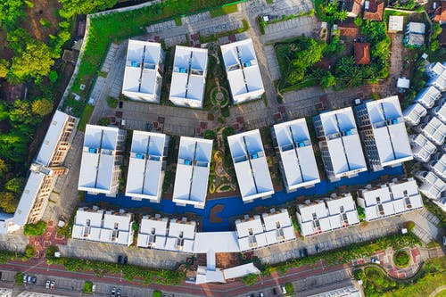 Aerial Photography of White Roof Of Buildings