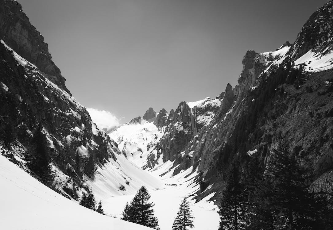 Grayscale Photography of Mountain Range