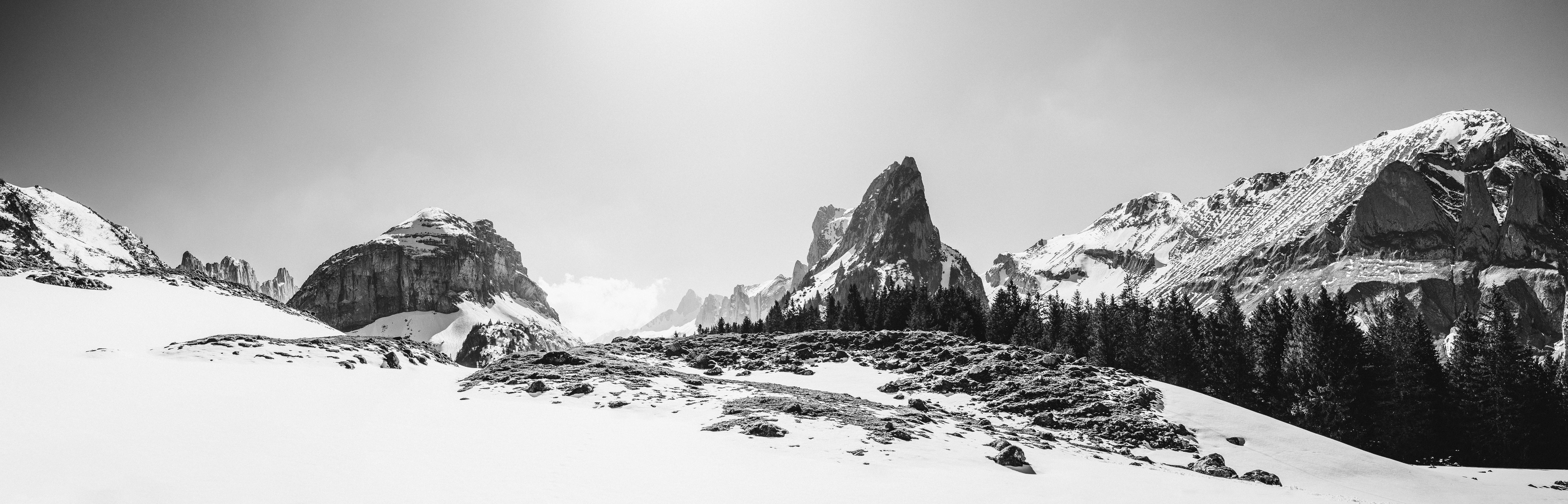 Free stock photo of 4k wallpaper, alps, black and white, bnw