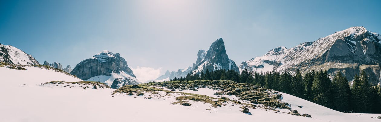 Snow Covered Mountain and Ground