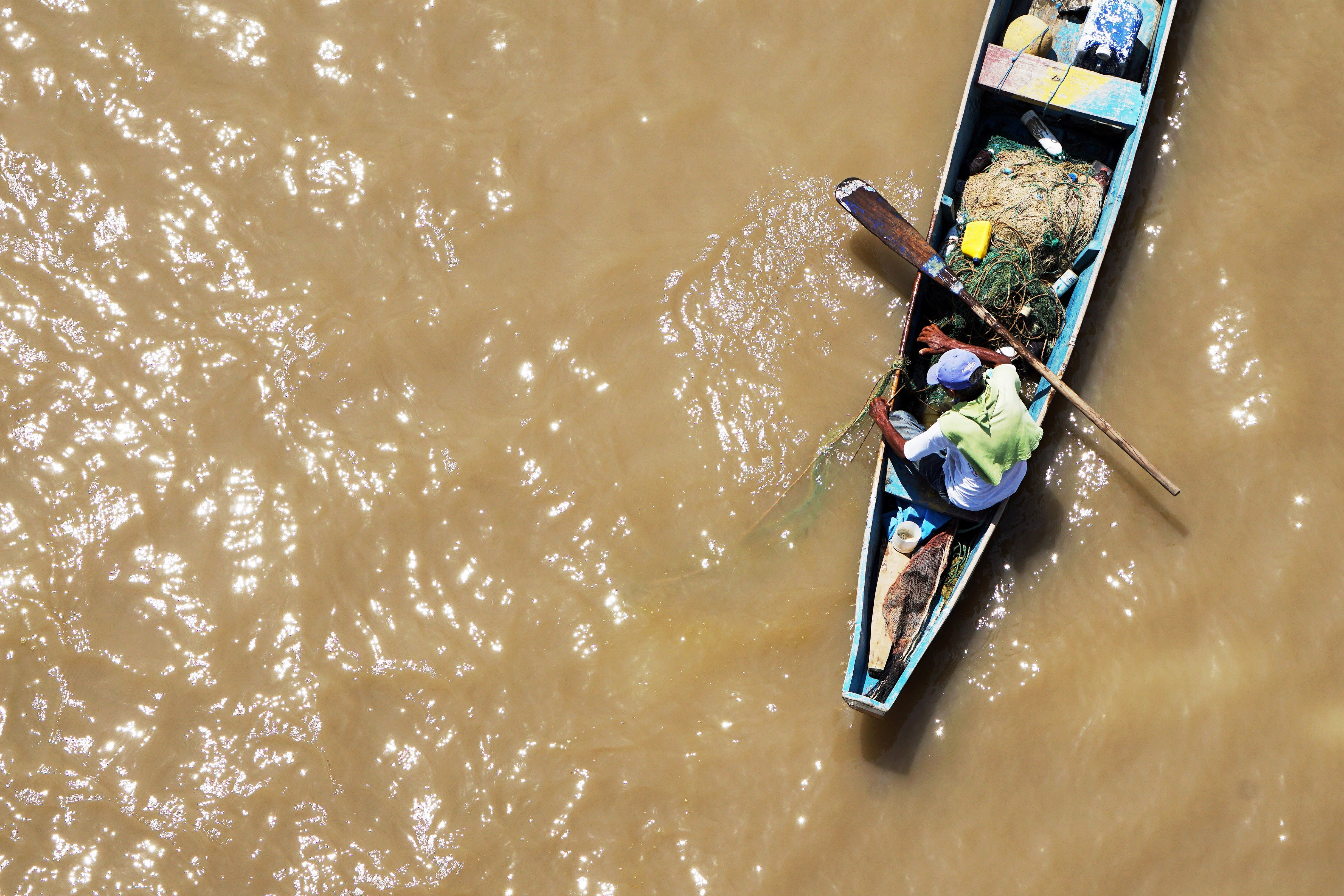 Free stock photo of aerial, boat, fisherman, fishing