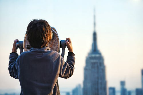 Boy Looking At The Empire State Building