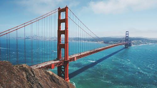 Fotobanka sbezplatnými fotkami na tému červená, Golden Gate Bridge, modrá, more