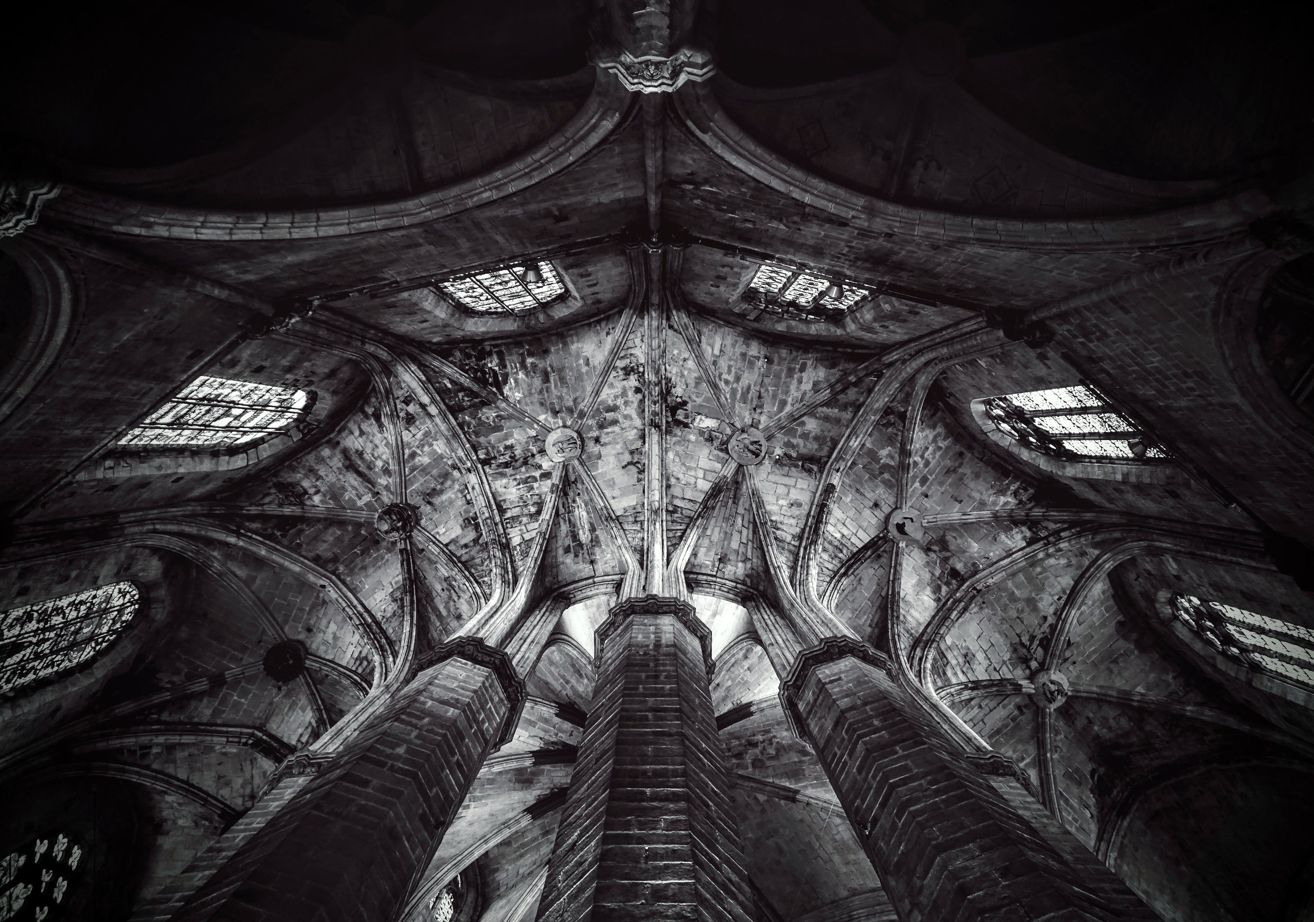 Free stock photo of black and white, ceiling, church