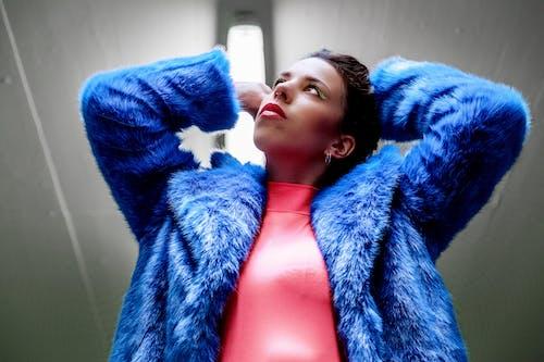 Woman Wearing Blue Fleece Jacket