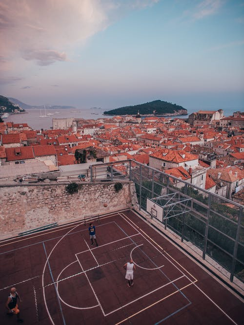 Aerial Photo of Outdoor Basketball Court