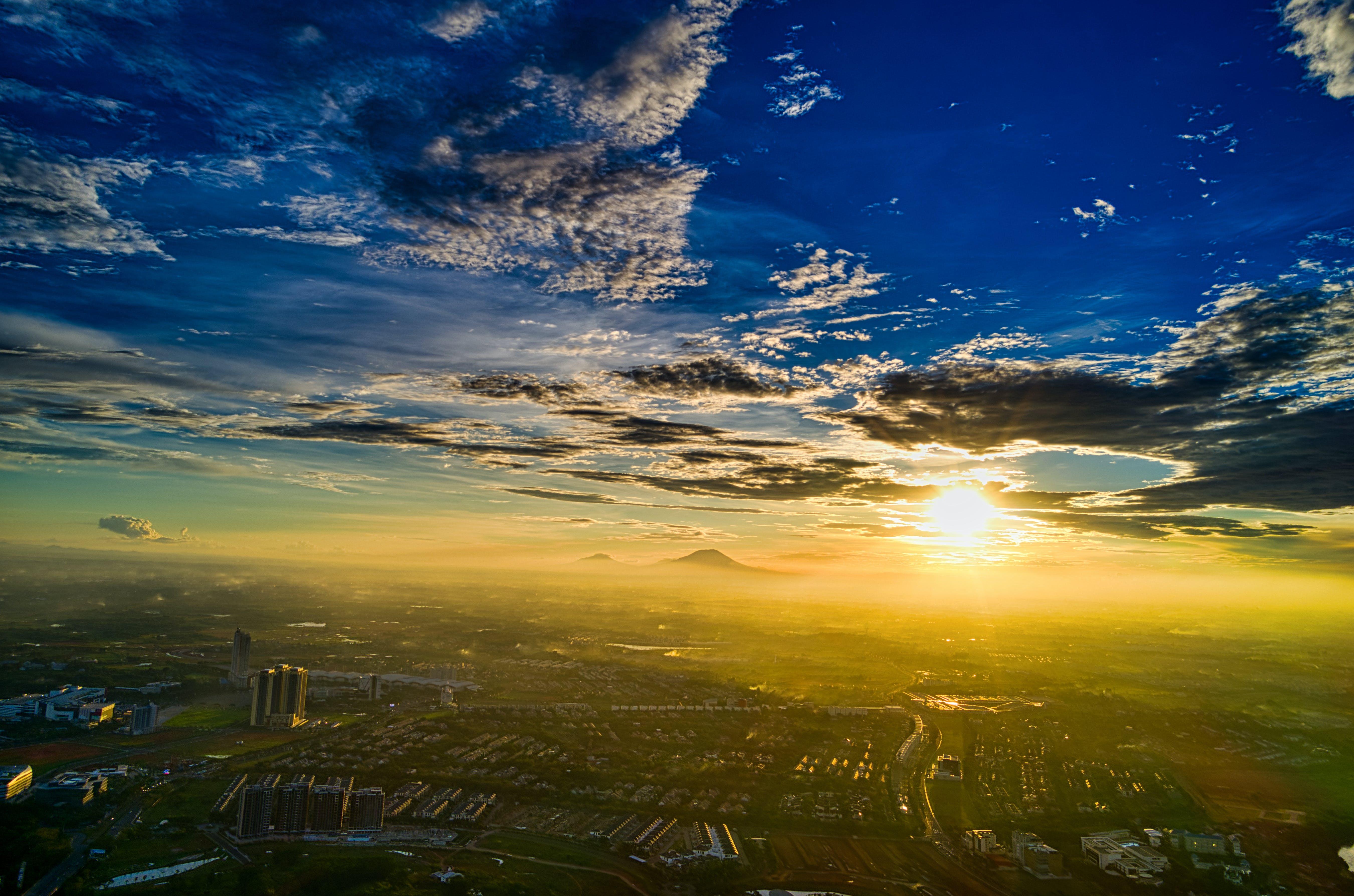 Bird's Eye View Of City During Dawn