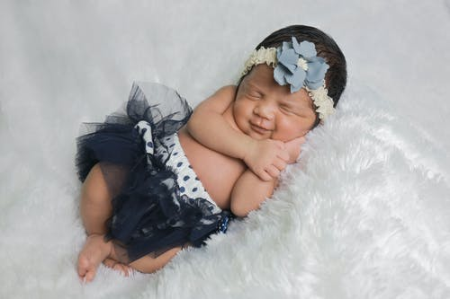 Baby in Black Tulle Skirt Photography