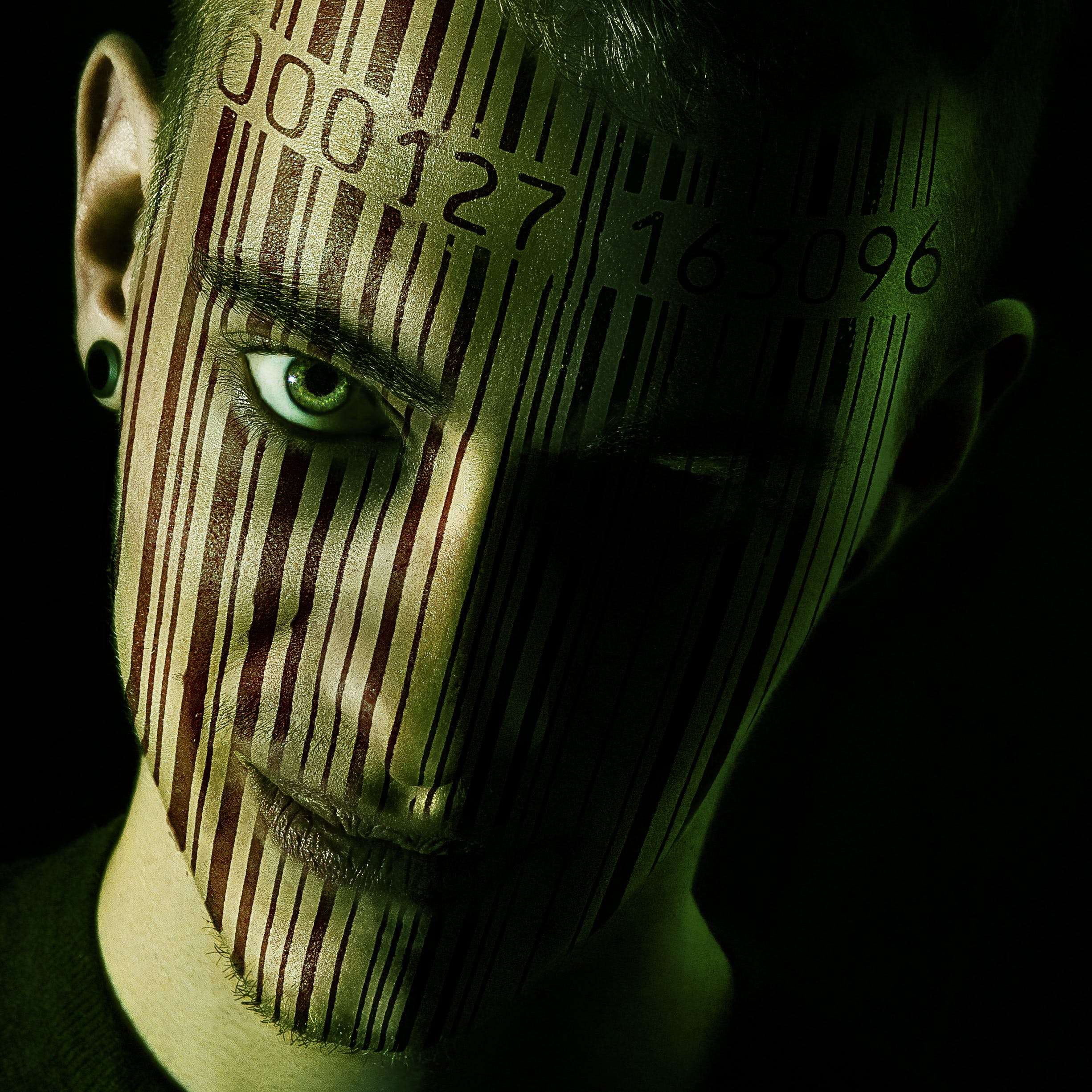 Man's Face With Barcode