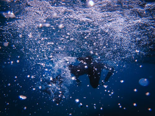 Underwater Photography Of Person In Water