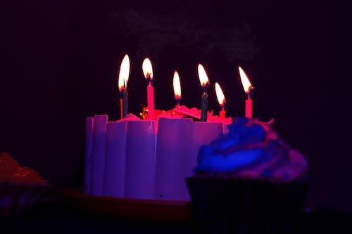 Gratis arkivbilde med bursdagskake, flammer, kake, levende lys