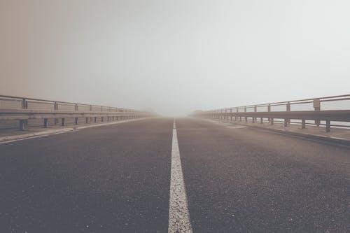 Free stock photo of asphalt, fog, foggy, path