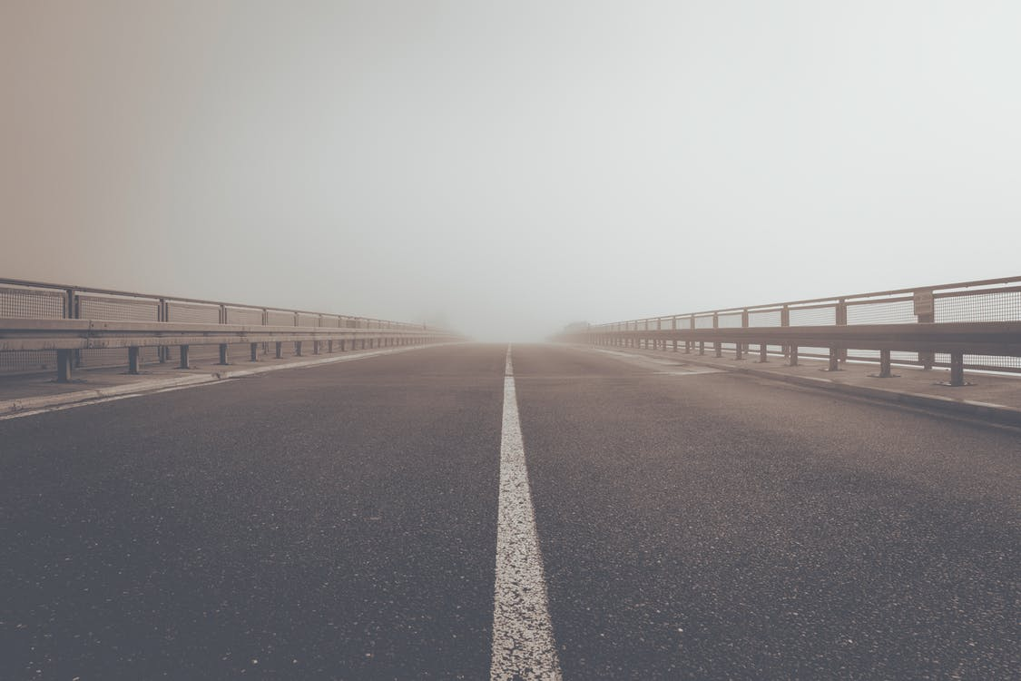 asfalto, nebbia, nebbioso