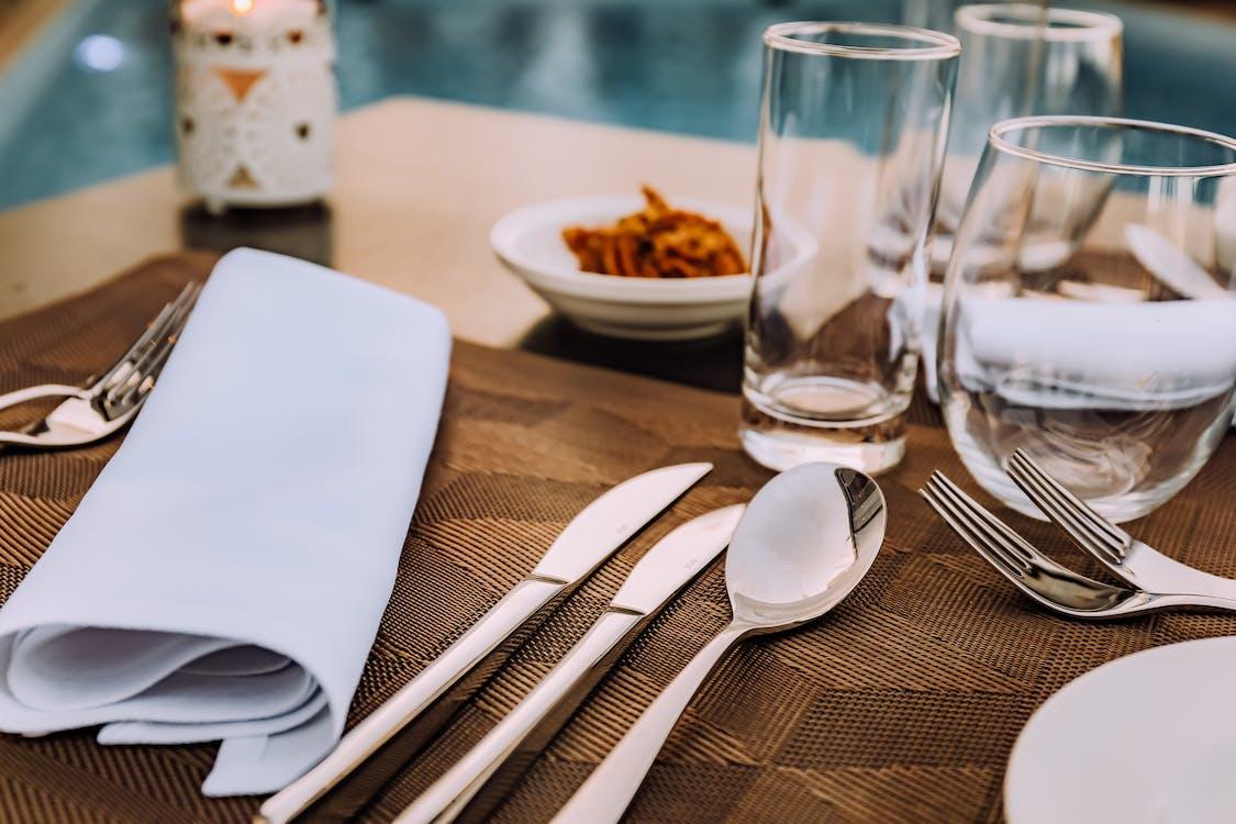 bestik, bord, forgrening