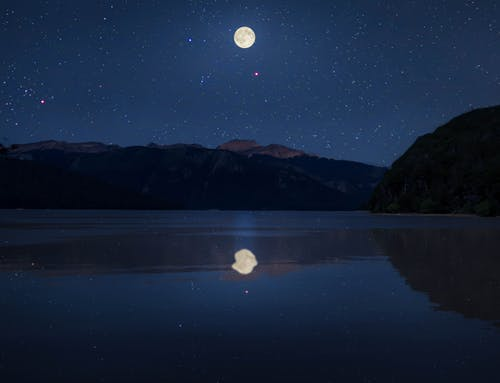 Body Of Water During Full Moon