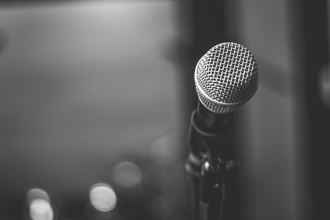Black And White Photo Of Microphone