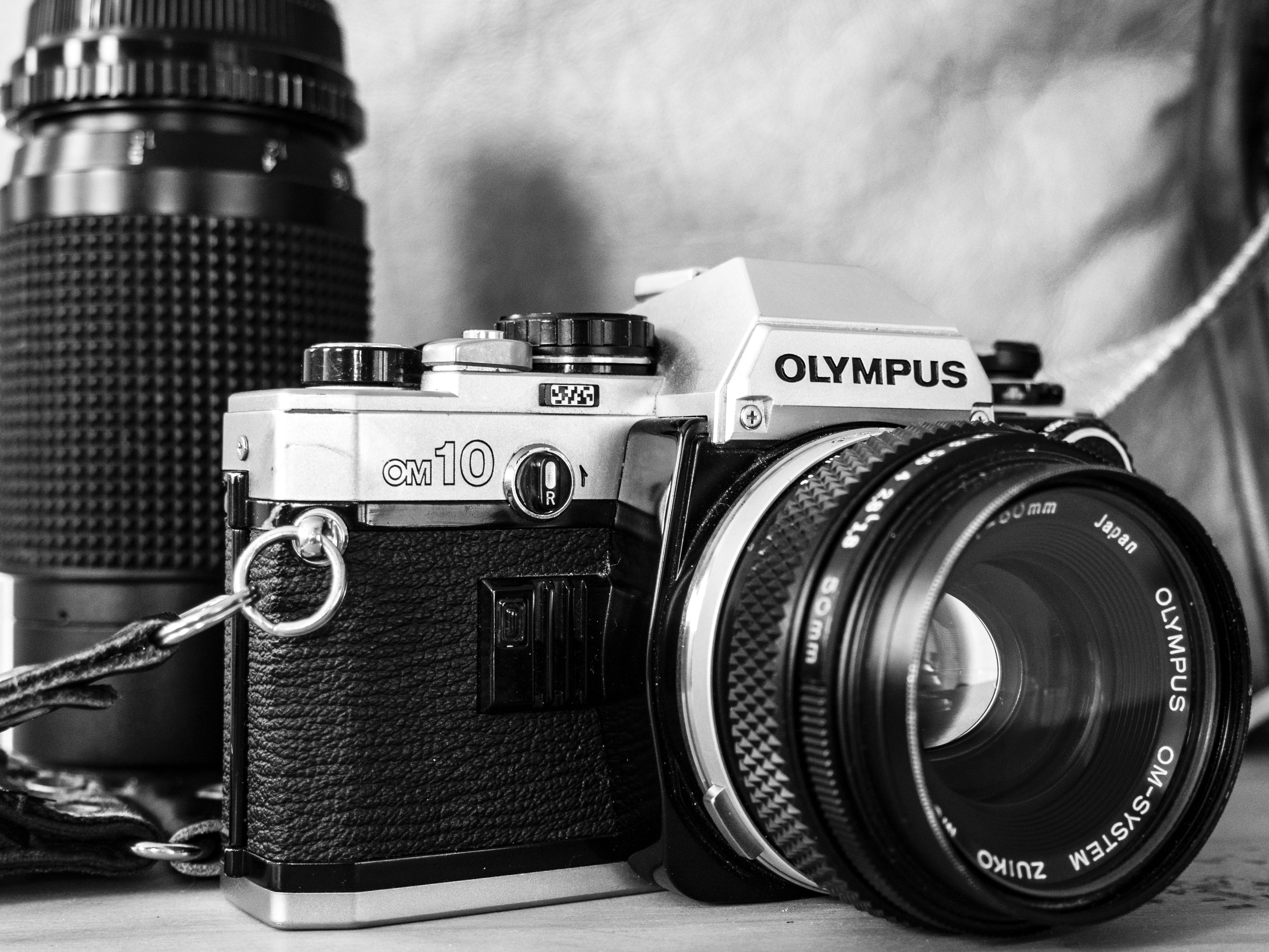 Free stock photo of black and white, camera, lens, olympus
