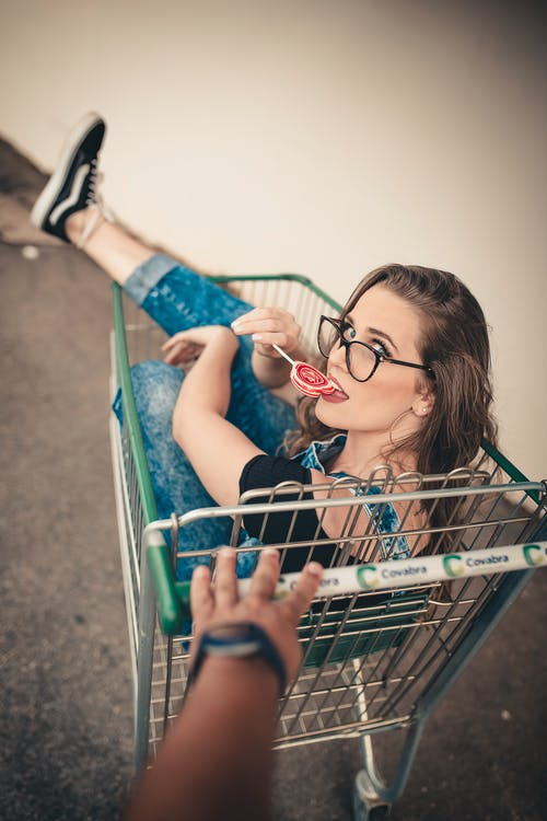 Woman In A Push Cart