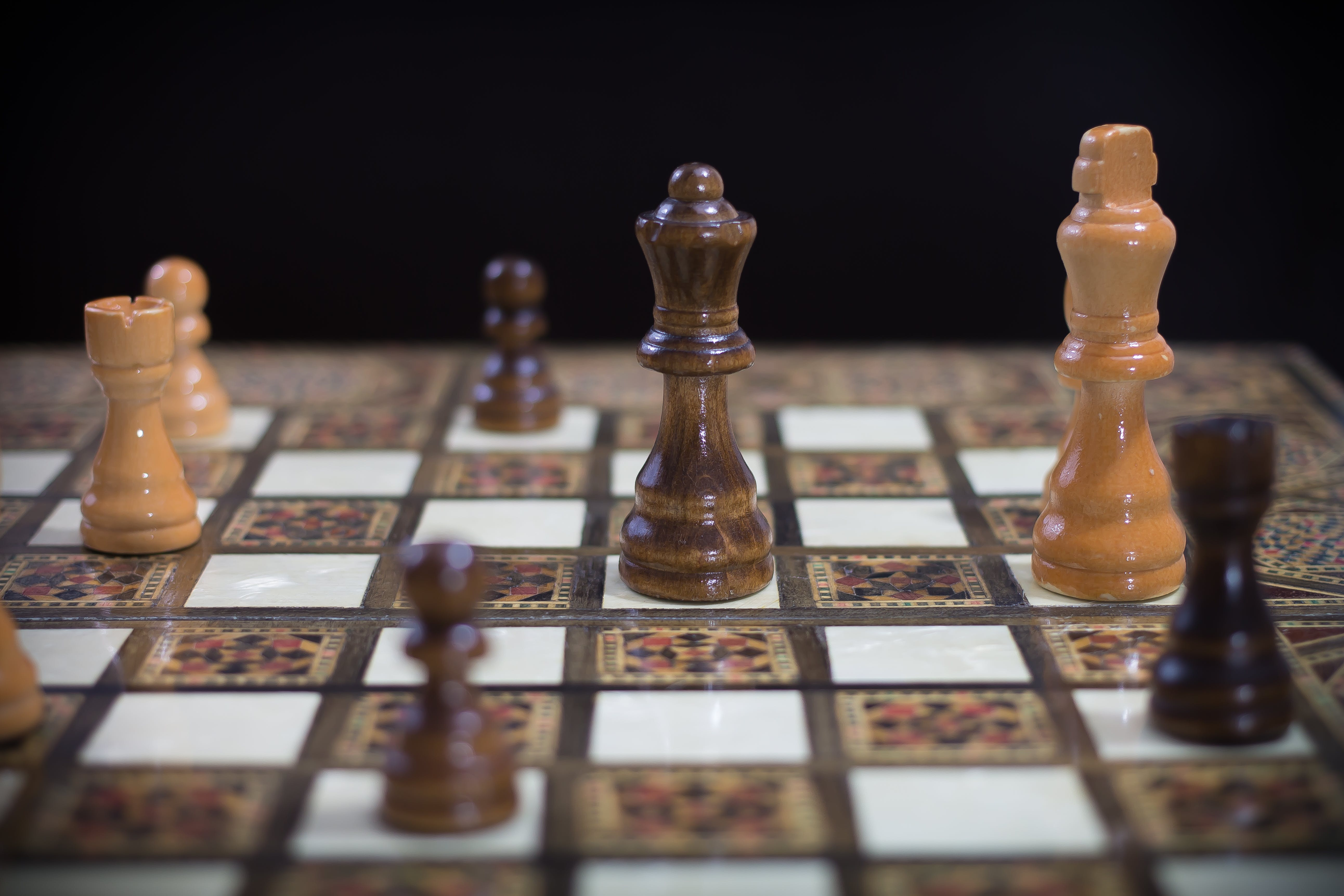 Brown White and Red Chess Board