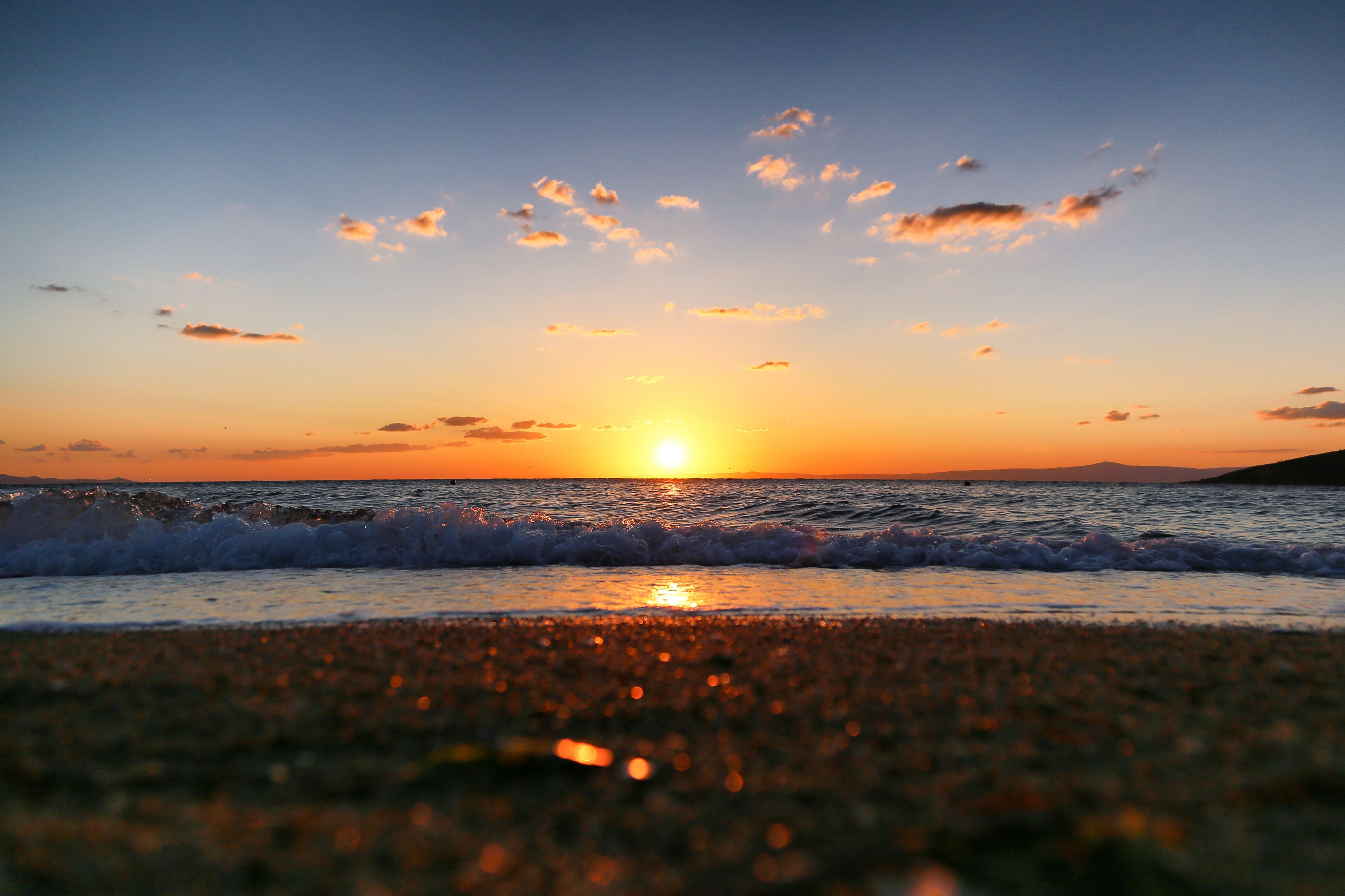 Foto stok gratis alam, Fajar, horison, laut