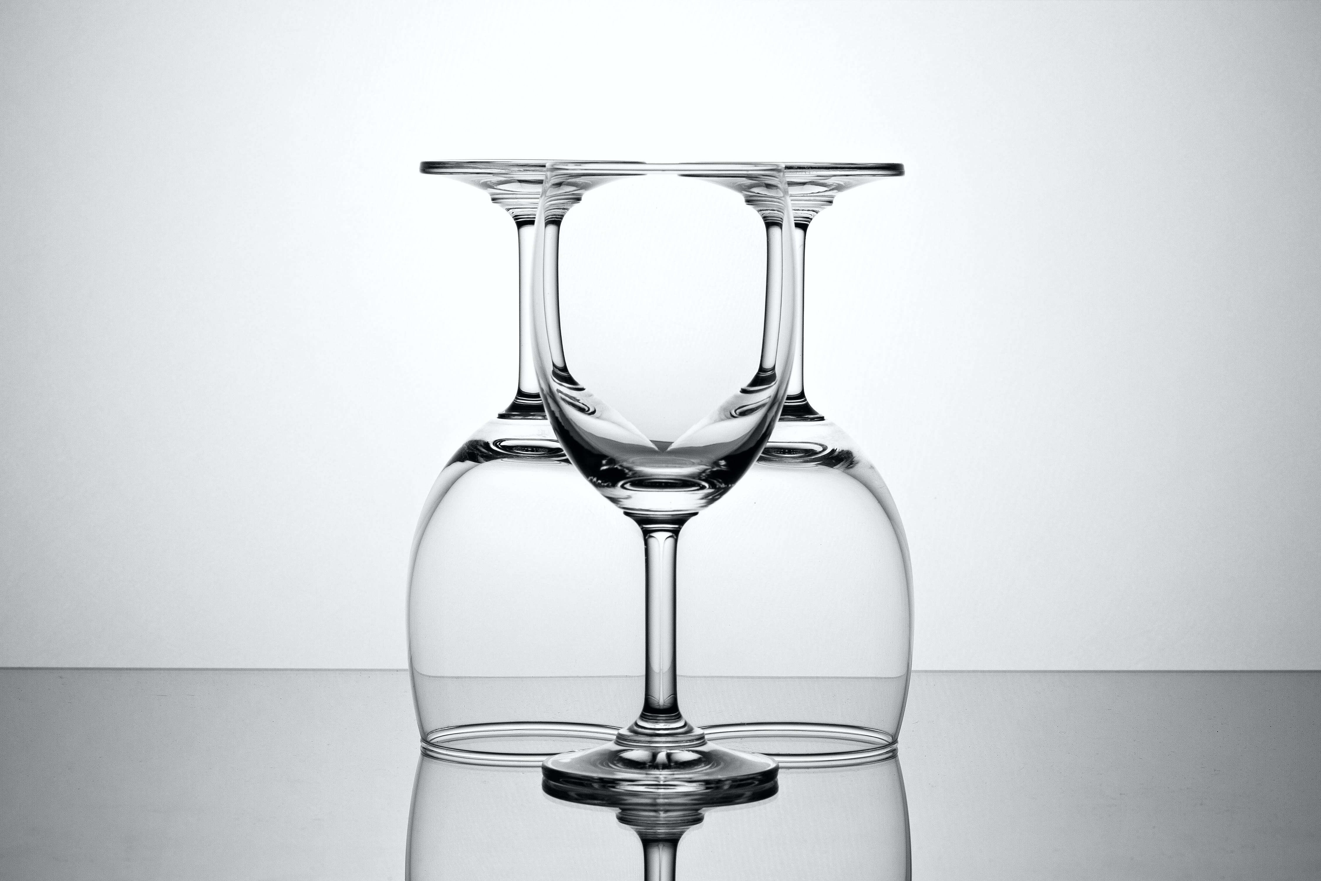 Three Clear Wine Glasses