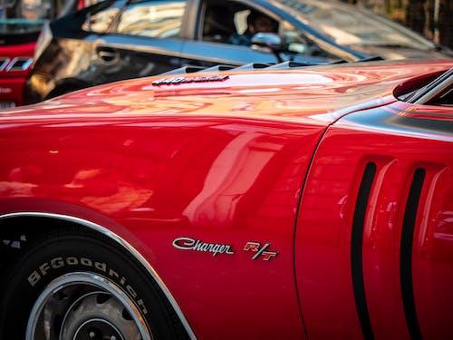 Základová fotografie zdarma na téma 1971 dodge charger rt440, červené auto, dodge, silné auto